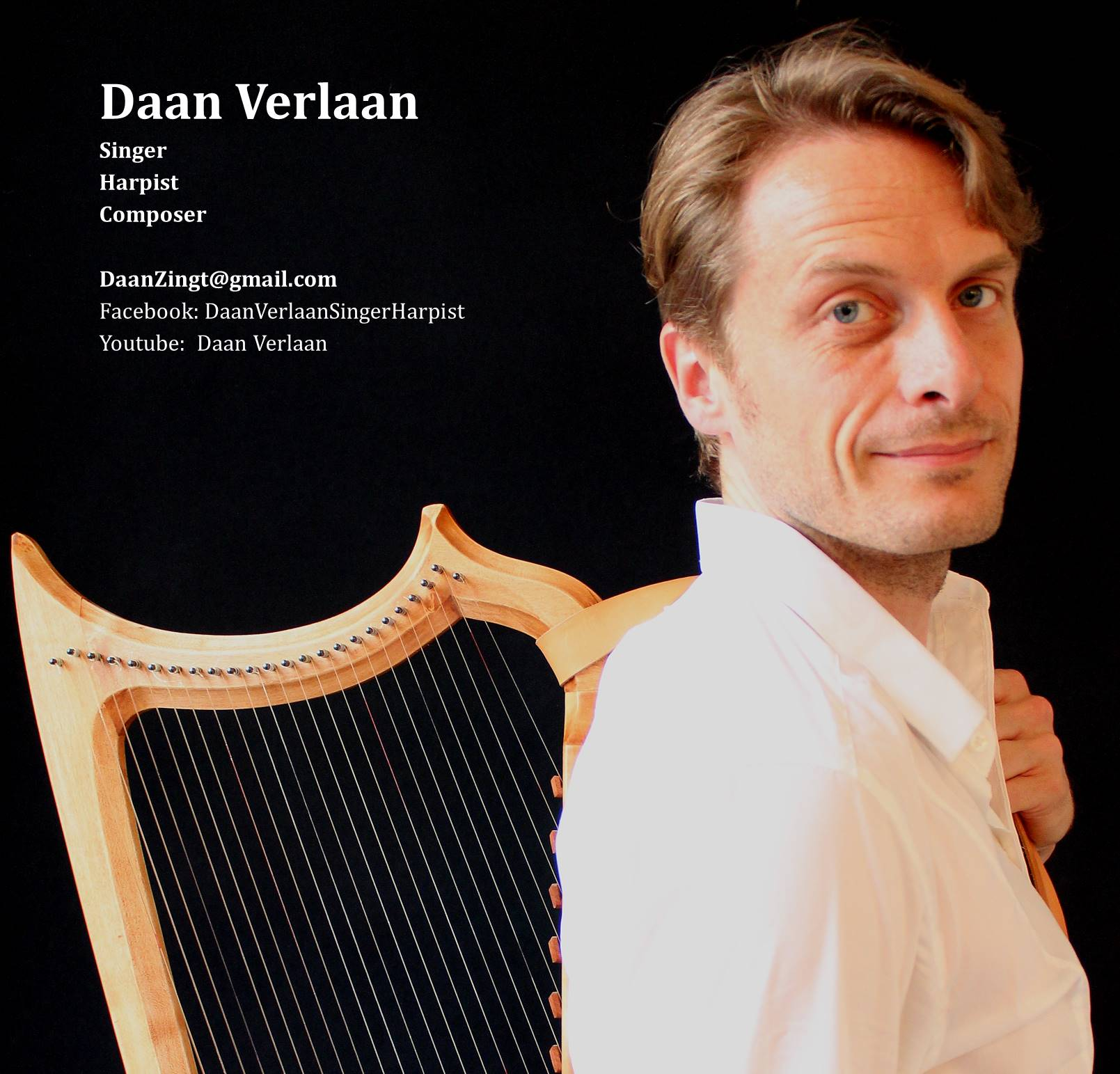 Photo of Daan with harp